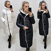 Куртка евро-зима двусторонняя с капюшоном арт. 1007 черный с молочным / черный с молоком