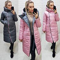 Куртка евро зима двусторонняя с капюшоном арт. 1007 серый с розовым / серо - розовый