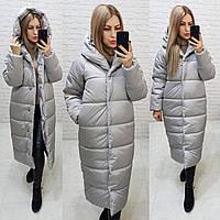 Пальто пуховик одеяло зима OVERSIZE с капюшоном арт. М521 серый дымчатый / серого цвета