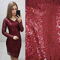 Платье новогоднее с пайетками арт. 139 бордовое / бордового цвета / вишневое