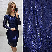 Платье новогоднее с пайетками арт. 139 синее / синего цвета