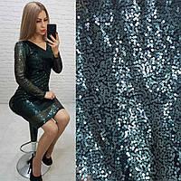 Платье новогоднее с пайетками арт. 139 зеленое / зеленого цвета / темный зеленый