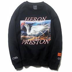 Свитшот Heron Preston чёрный с принтом цапли (толстовка херон престон мужская женская)