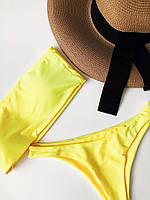 Женский купальник-бандо с высокими трусиками.Желтый