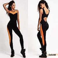 Женский фитнес комбинезон для спорта с оранжевыми вставками, фото 1