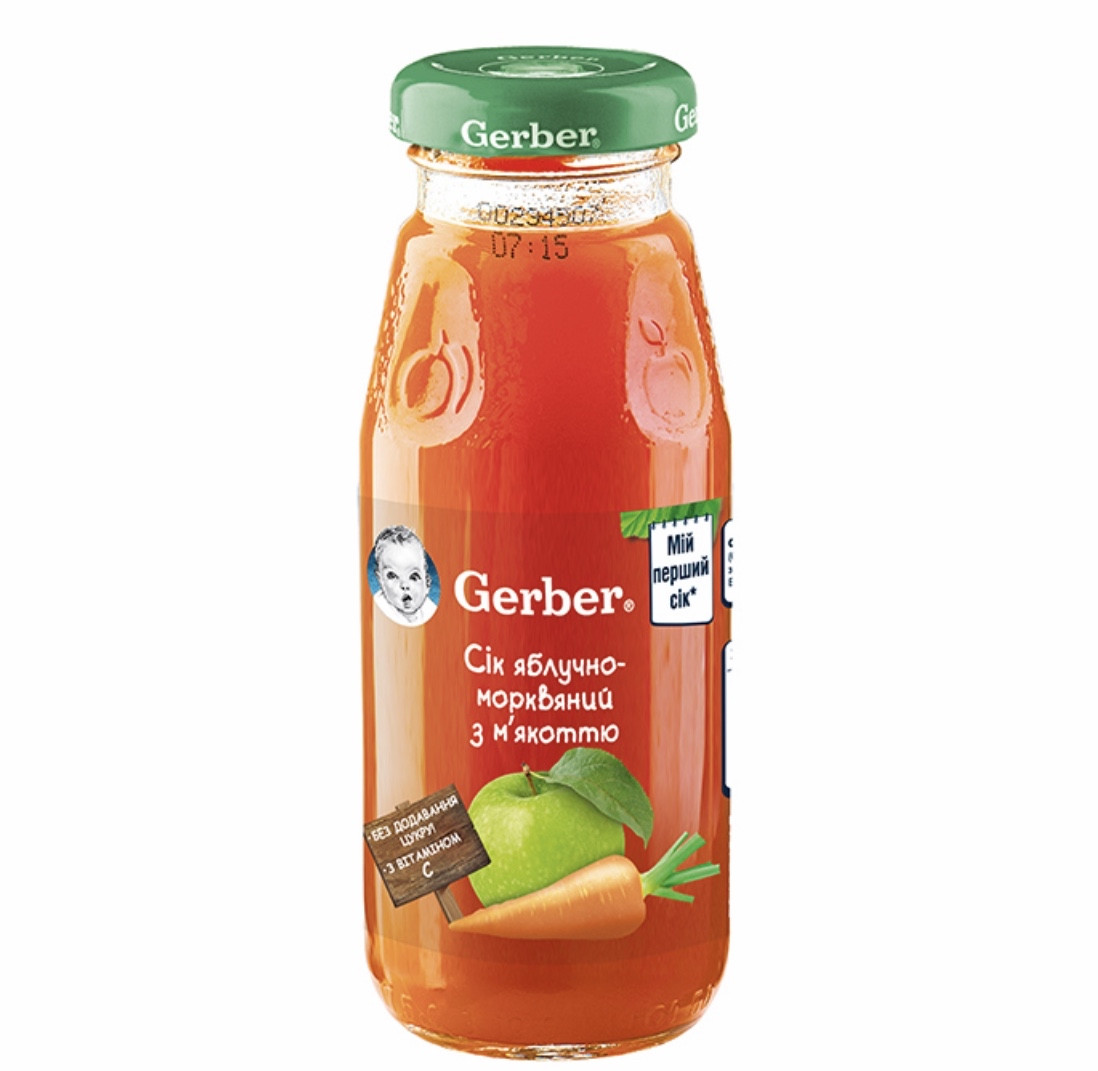 """Сік GERBER """"Яблучно-морквяний з м'якоттю"""" 175 мл."""