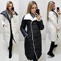 Куртка одеяло демисезонная двухсторонняя арт. 1006 чёрный с белым / белый с чёрным