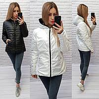 Женская двусторонняя куртка с капюшоном арт. 185  БАТАЛ черный+белый