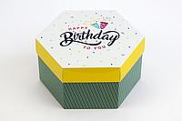 """Коробка """"Шестигранник"""" М0066-о1, """"Happy birthday"""", фото 1"""