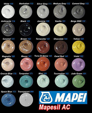 Герметик силіконовый Mapei Mapesil AC / 144 / шоколад / 310 мл, фото 2