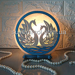 Соляной светильник круглый Лебеди цветной