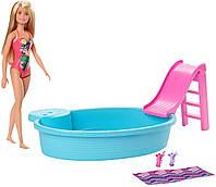 Barbie Развлечения у бассейна кукла Барби и бассейн GHL91Doll Blonde and Pool Playset with Slide