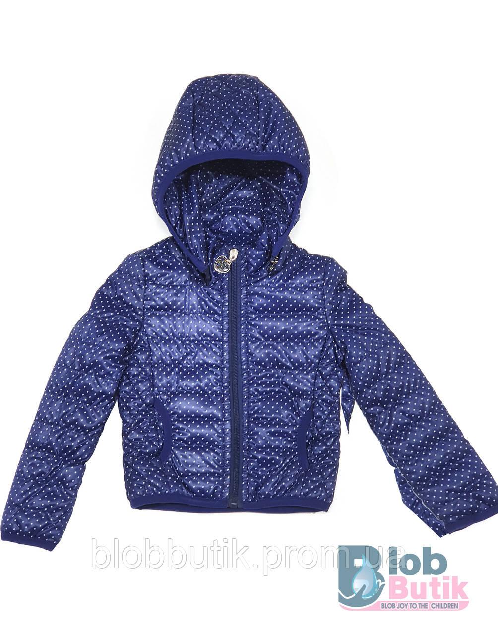 Куртка синего цвета в горошек для девочки .