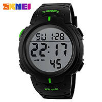Skmei 1068 мужские спортивные часы черные с зелеными вставками, фото 1