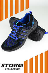 """Мужские летние кроссовки """"Boost"""" от ТМ STORM , комбинация сетки и замша,  р. 40,41,42,43,44,45 черные"""