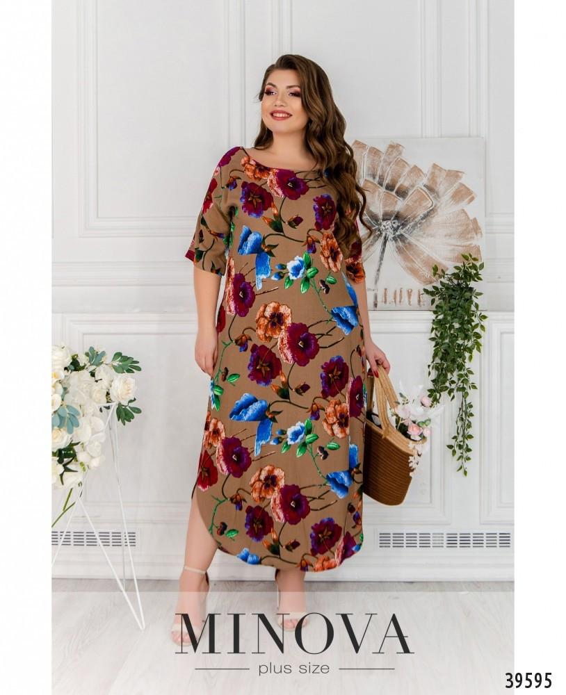 Модное платье из штапеля на лето коричневого цвета, размер от 48 до 56