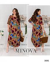 Модное платье из штапеля на лето коричневого цвета, размер от 48 до 56, фото 2