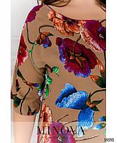 Модное платье из штапеля на лето коричневого цвета, размер от 48 до 56, фото 3