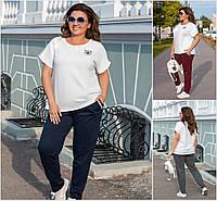 Р 52-56 Летний спортивный костюм штаны с футболкой Батал  21278