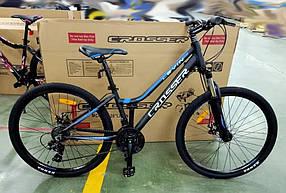 """Гірський велосипед 26 дюймів Crosser levin рама 14"""" BLACK-BLUE"""