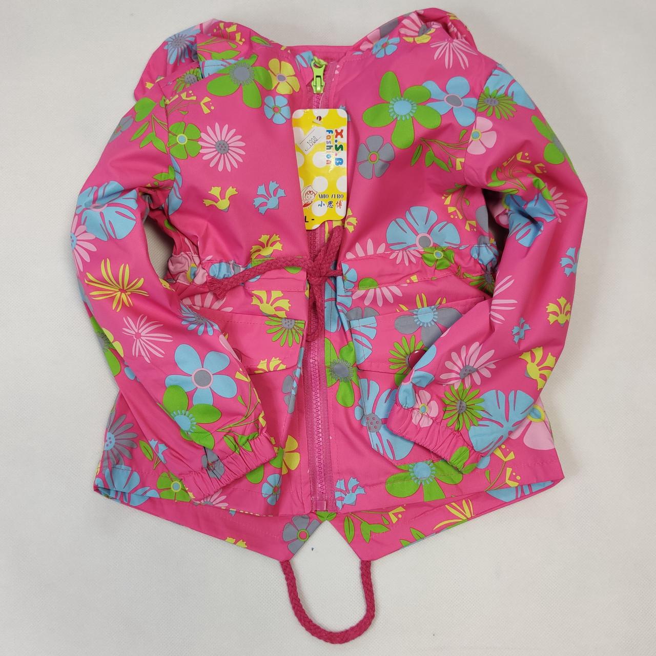 Детская куртка ветровка для девочки светло розовая цветы 4-5 лет