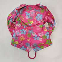 Детская куртка ветровка для девочки светло розовая цветы 4-5 лет, фото 3