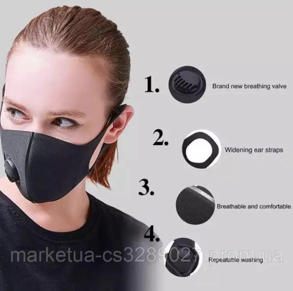 Питта-маска для лица,(ЛАЙТ) весенний вариант,Маска защитная фильтрующая многоразовая с клапаном