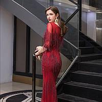 Выпускное платье. Вечерние платье рыбка. Червона розкішна розшита  вечірня сукня. Облегающее платье
