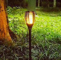 """Газонный уличный светильник пламя на солнечной батарее """"Мерцающий факел"""""""
