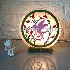 Соляна лампа кругла Колібрі кольорова