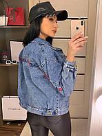 Джинсовая женская куртка с надписями