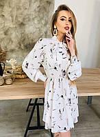 Легкое платье с бантом в виде шарфа с резиночкой на поясе из ткани софт   Р-р.42-46 Код 7035К