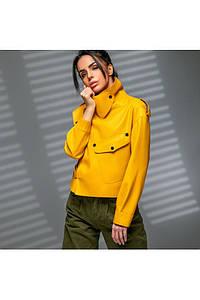 Укороченная женская куртка из экокожи с высоким воротником 42-46 р
