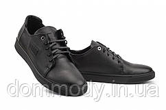 Кеды мужские кожаные черного цвета