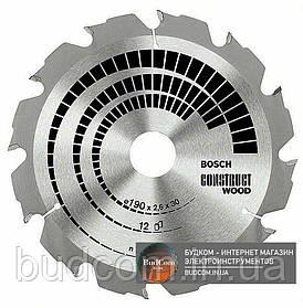Пильный диск Bosch Construct Wood 190×2,6×30 мм, 12 FWF