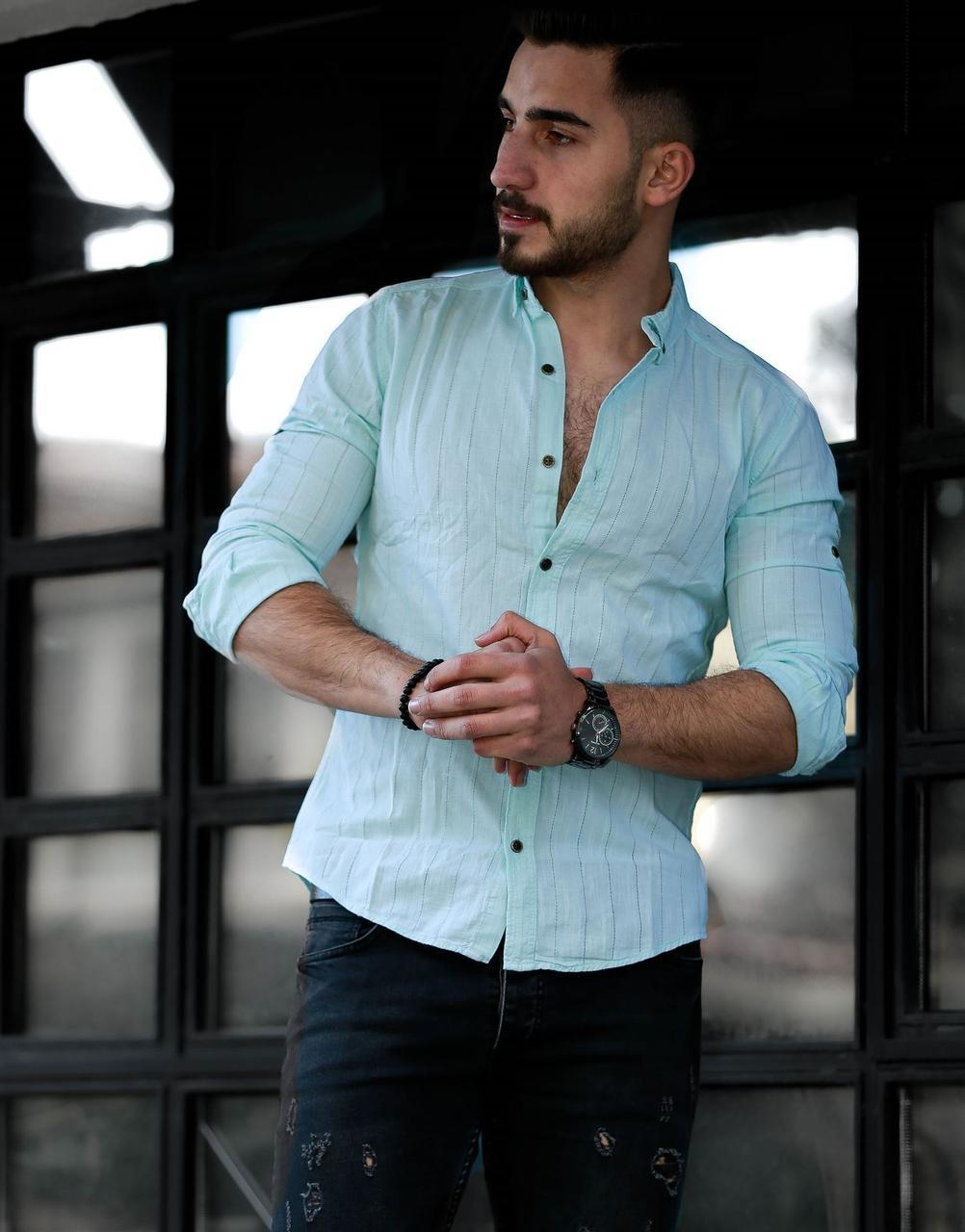 Мужская льняная  рубашка с длинным рукавом Rubaska Турция