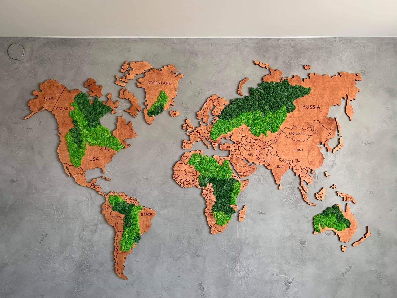 Карта мира деревяная со мхом