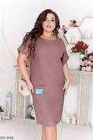 Натуральное летнее платье-футболка ткань лен размеры 50-60 арт 1003