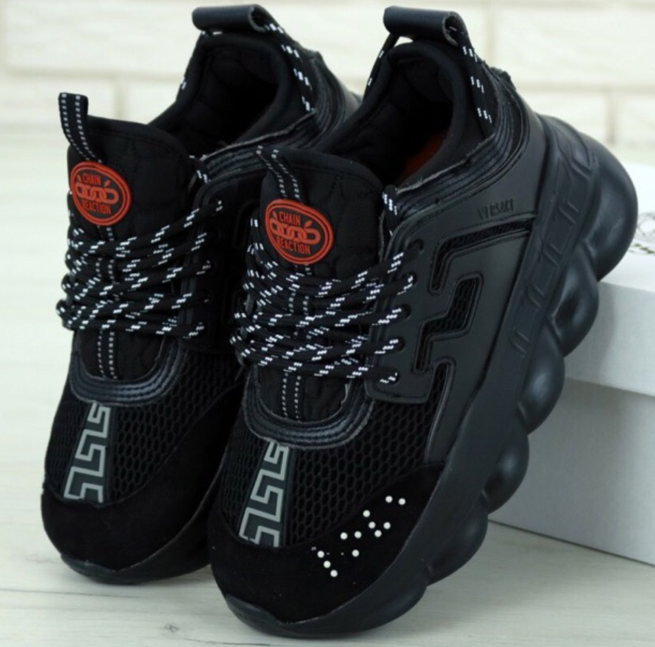 Мужские кроссовки Versace Chain Reaction Sneakers Black