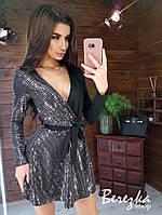 Платье с верхом на запах из трикотажа и пайетки с расклешенной юбкой tez6603411Е, фото 1
