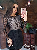 Платье с верхом из сетки с длинным рукавом и юбкой травкой tez6603415Е, фото 1