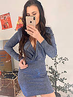 Короткое люрексовое платье с верхом на запах и длинным рукавом tez5803486, фото 1