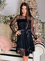 Черное платье из атласа с сеткой в горошек сверху tez6503499, фото 1