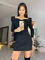 Платье по фигуре с фигурным вырезом и длинным рукавом фонариком tez7603552, фото 1