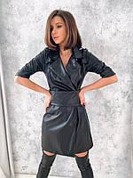 Приталенное кожаное платье с широким съемным поясом и отложным воротником tez2203822, фото 1