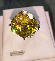 Серебряное кольцо с сфеном (титанит) и сапфирами, размер 17.6 от студии LadyStyle.Biz