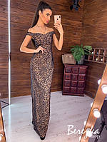 Платье макси из сетки с вышивкой люрекса и открытыми плечами tez6603953Е, фото 1