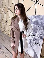 Двухцветное платье - пиджак на запах с длинным рукавом tez1703974