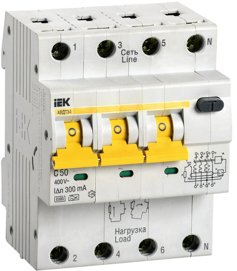 Автоматический выключатель дифференциального тока АВДТ34 C50 300мА IEK