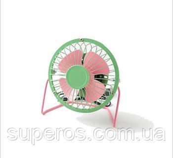 Настольный USB вентилятор (розово-зеленый)